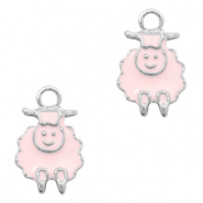 Metal charms sheep Silver-Pink