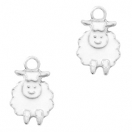 Metal charms sheep Silver-White