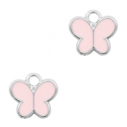Metal charms butterfly Silver-Pink