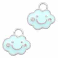 Metal charms cloud Silver-Light Blue