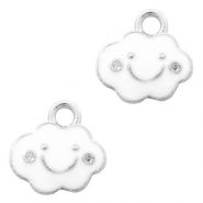 Metal charms cloud Silver-White