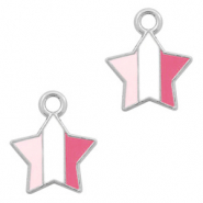 Metal charms star Silver-Fuchsia White Pink