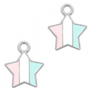 Metal charms star Silver-Light Blue White Pink