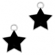 Metal charms star Silver-Black