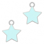 Metal charms star Silver-Light Blue