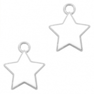 Metal charms star Silver-White