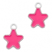 Metal charms star Silver-Fuchsia