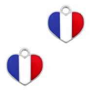 Metal charms heart Silver-Red White Blue