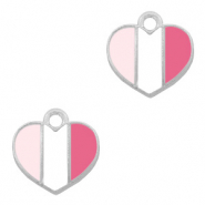 Metal charms heart Silver-Fuchsia White Pink