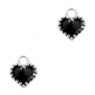 Metal charms heart Silver-Black