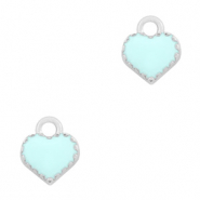 Metal charms heart Silver-Light Blue