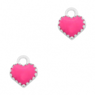Metal charms heart Silver-Fuchsia
