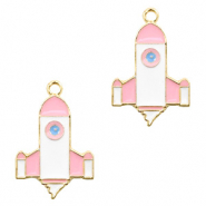 Metal charms rocket Gold-White Pink