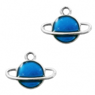 Metal charms Saturn Silver-Blue