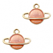 Metal charms Saturn Gold-Peach
