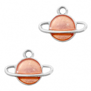 Metal charms Saturn Silver-Peach
