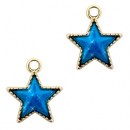 Metal charms star Gold-Blue