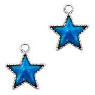 Metal charms star Silver-Blue