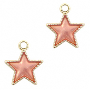 Metal charms star Gold-Peach