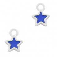 Metal charms star Silver-Dark Blue