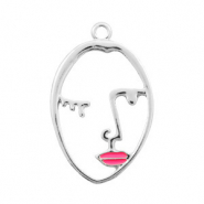 Metal charms lined face pink lips Silver