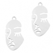 Metal charms face Silver