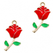 Metal charms rose Gold-Red Green