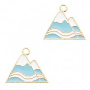 Metal charms mountaintop Gold-Blue White