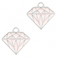 Metal charms diamond Silver-Pink