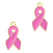 Metal charms ribbon Gold-Pink
