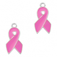 Metal charms ribbon Silver-Pink