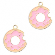 Metal charms donut Gold-Pink