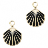 Metal charms shell Gold-Black