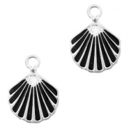 Metal charms shell Silver-Black