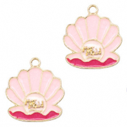 Metal charms mermaid shell Gold-Pink