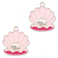 Metal charms mermaid shell Silver-Pink
