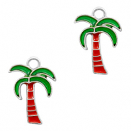 Metal charms palmtree Silver-Red Green