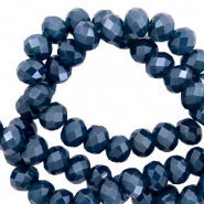 Top faceted beads 6x4mm disc Peacoat Blue-Pearl Shine Coating