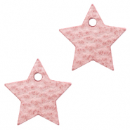 DQ European leather charms star Pressed Rose Red