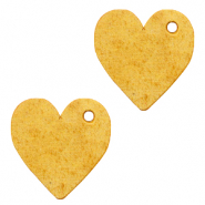 DQ European leather charms heart Mineral Yellow