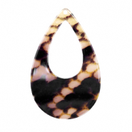 Resin pendants drop 57x36mm snake shiny Yellow-brown