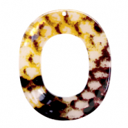 Resin pendants oval 48x40mm snake shiny Yellow-Brown