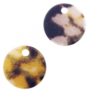 Resin pendants round 19mm snake matt Yellow-brown