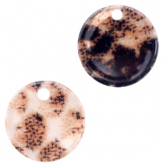 Resin pendants round 12mm snake shiny Rust Brown