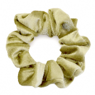 Scrunchie velvet hair tie Golden Olive Green