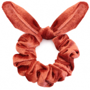 Scrunchie velvet hair tie bow Rust Red