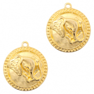 DQ European metal charms elephant round 20mm Gold (nickel free)