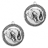 DQ European metal charms elephant round 20mm Antique Silver (nickel free)