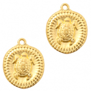 DQ European metal charms turtle Gold (nickel free)