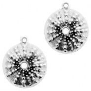 DQ European metal charms urchin round 25mm Antique Silver (nickel free)